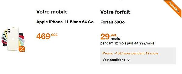 L'iPhone 11 avec l'offre forfait + mobile Orange