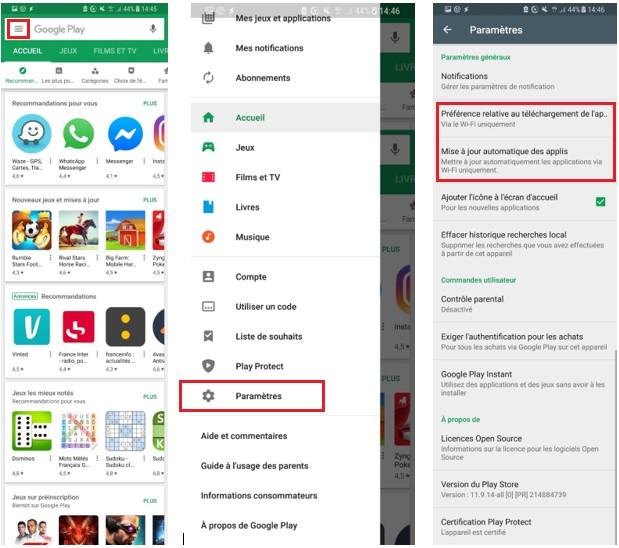 Smarthpone Android : réglages Google Play pour limiter la consommation de données mobiles