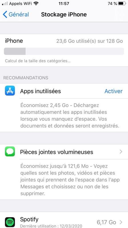 Optimiser l'espace de stockage sur un iPhone