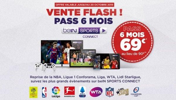 Vente Flash Bein sports en streaming jusqu'au 20 octobre 2019