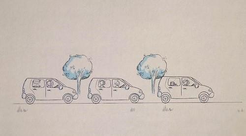 Grâce au réseau privé 5G, Gustave fait sa causerie d'avant-match retransmise simultanément dans tous les véhicules du convoi.