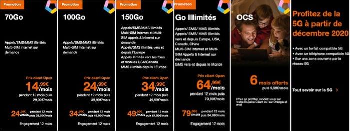 Les prix des forfaits 5G orange commencent à partir de 15€/mois