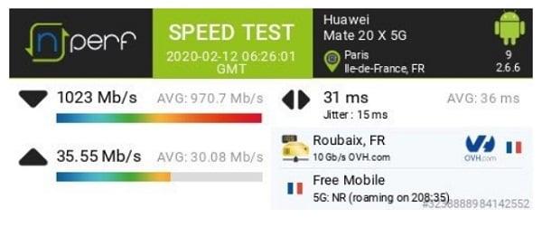 La 5G Free permet d'atteindre un débit jusqu'à 1 Gb/s