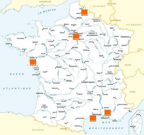 La carte de couverture mobile du réseau 5G Orange