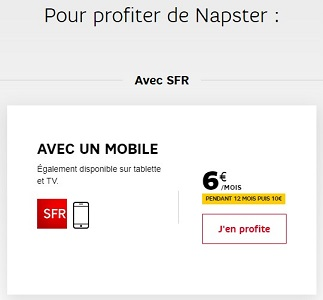 Napster est en option payante pour les clients mobiles et Internet de SFR et RED.