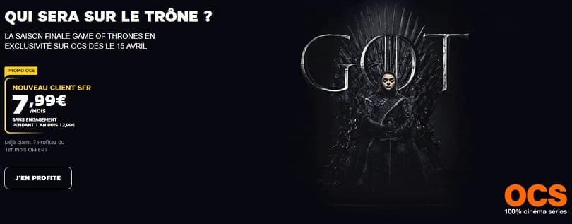Pour la diffusion de la saison 8 de Game of Thrones, l'abonnement à OCS est 7,99€/mois pendant un an chez SFR