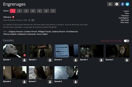 Il est très facile de trouver un épisode d'une série sur l'interface de Canal+ Séries