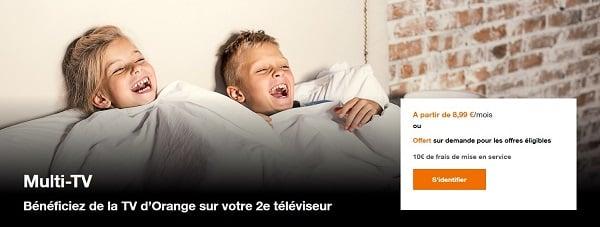 L'option multi TV est disponible gratuitement à la demande avec certaines offres Internet Orange