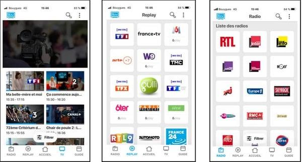 Captures d'écran de l'application B.TV sur iPhone