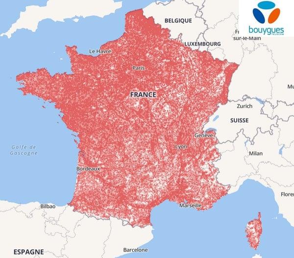 Le réseau 4G de Bouygues en septembre 2019 selon l'ARCEP
