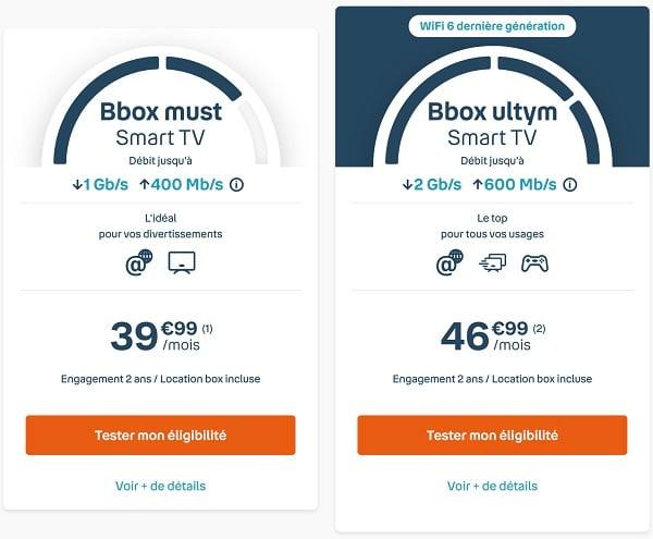 Bbox must Smart TV et Bbox ultym Smart TV: les deux nouvelles offres internet de Bouygues avec une télévision connectée à prix coûtant