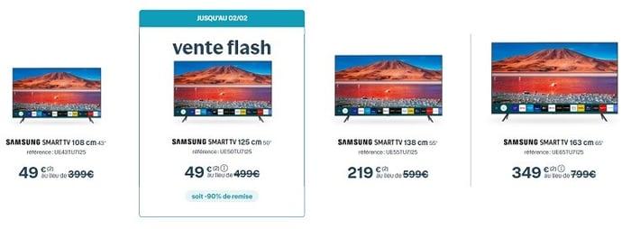 Pendant les soldes Bouygues, l'offre Internet Bbox Smart TV est à l'honneur, avec la télévision Samsung 125 cm au prix de la 108 cm : 49€.