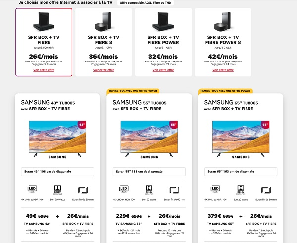 les offres box SFR avec Smart TV