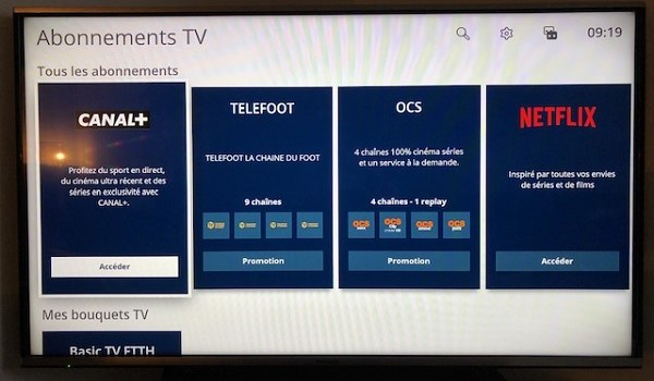 Vous pouvez accéder aux chaînes Canal directement depuis l'interface TV Bouygues, à la rubrique Abonnements TV.
