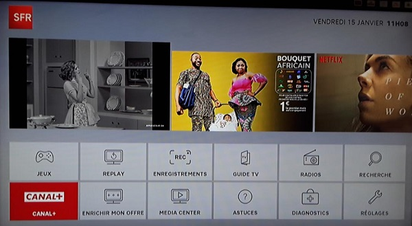 Il est possible d'accéder à l'univers Canal+ depuis l'interface TV de votre décodeur TV SFR.