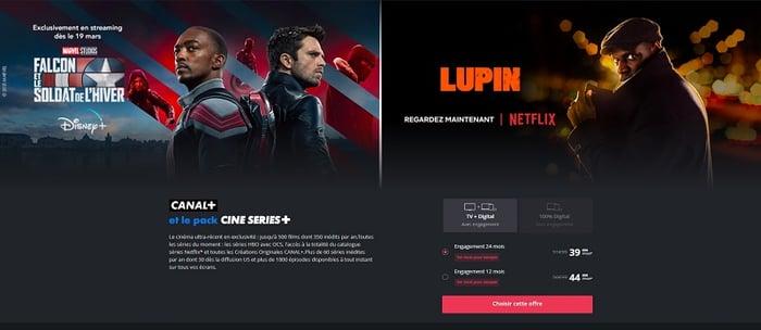L'abonnement à Netflix est inclus dans l'offre Canal+ avec le pack Ciné Séries+.