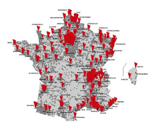 Carte des villes câblées par SFR