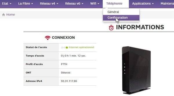 L'interface web de la Box de SFR