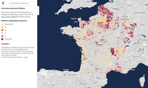 la carte des villes éligibles à la fibre
