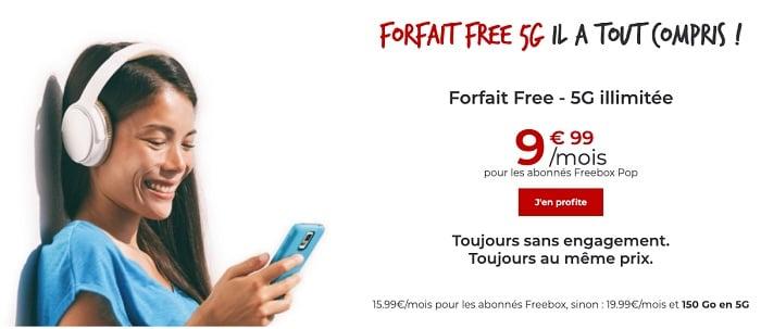 Le forfait 5G free est à moins de 20€/mois