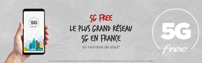 Le forfait Free 5G est celui qui donne accès au plus grand réseau 5G de France
