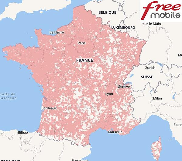 carte de couverture 4G de free mobile selon l'ARCEP (30/09/2019)