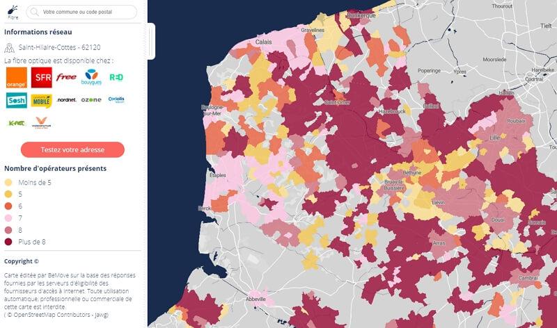 Carte de couverture fibre dans les Hauts-de-France
