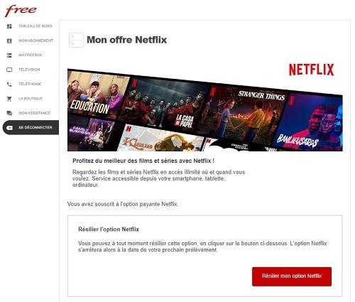 Il est possible de résilier son abonnement Netflix Free depuis son espace abonné Freebox.