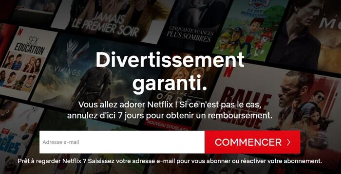 Ecran d'accueil de Netflix en juin 2020 : 7 jours d'essais gratuits