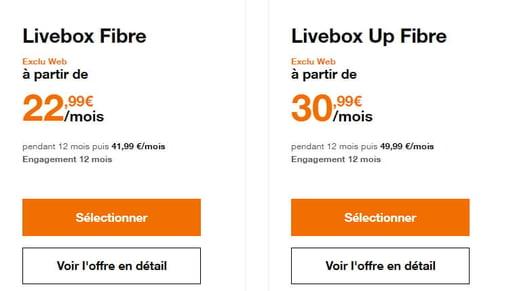Prix et détails des offres fibre Orange Livebox et Livebox Up