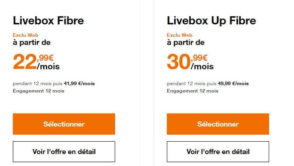 Les deux abonnements fibre optique Orange : Livebox et Livebox Up
