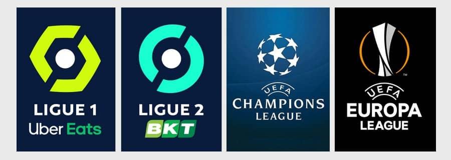 Logo de la Ligue 1,  Ligue 2 et des coupes d'Europe UEFA