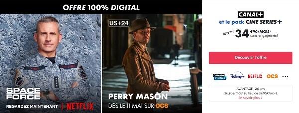 L'offre Canal+ avec le pack Ciné Séries+, c'est l'offre ultime pour les fans de cinéma et de séries avec notamment Netflix, Disney+, OCS et Canal+ Séries
