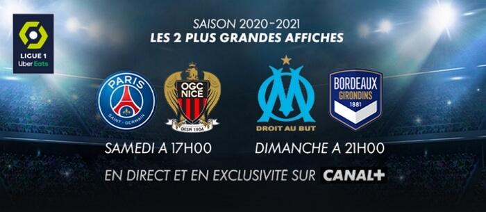 Canal+ diffuse les deux affiches de Ligue 1 chaque week-end