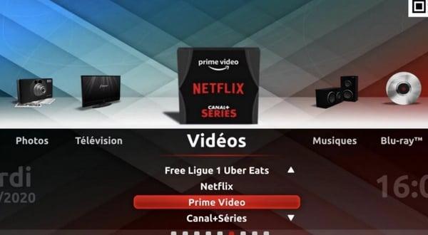"""Amazon Prime Video est accessible depuis la rubrique """"Videos"""" depuis l'interface TV de la Freebox"""