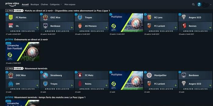 L'interface du pass Ligue 1 est accessible depuis la page d'accueil de Prime Video