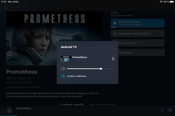 Ce film est lancé sur l'application Amazon Prime d'un iPad et diffusé en Chromecast sur une TV connectée.