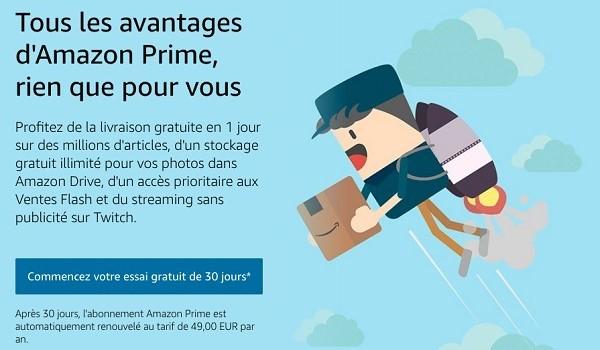 Les nouveaux clients Amazon Prime bénéficient de 30 jours d'essai gratuit