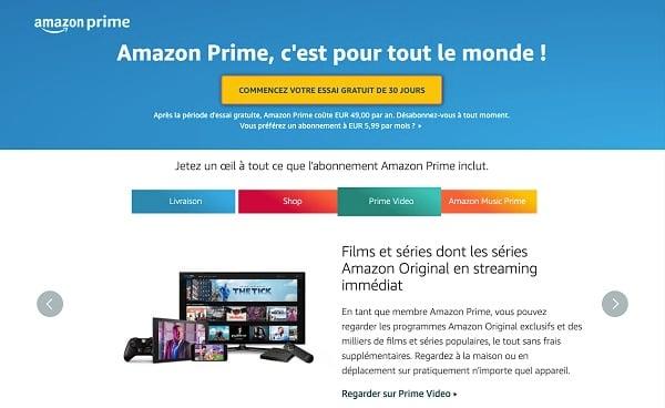 Amazon Prime, c'est le programme premium d'Amazon avec notamment Amazon Prime Video et Prime Video Ligue 1 en option