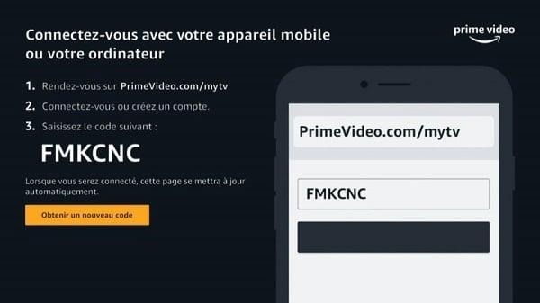 Un code apparaît sur l'écran de votre télévision, il est indispensable pour associer votre Livebox à Amazon Prime Video