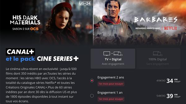 Canal+ et le pack Ciné Séries+ est au prix de 34,90€/mois