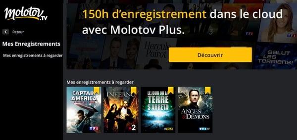 150 heures d'enregistrement TV en ligne avec Molotov