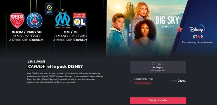 Détail de l'offre Canal avec Disney+ en série limitée