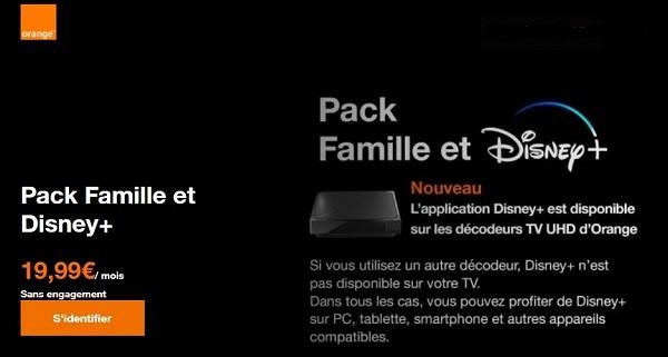 Les abonnés Orange peuvent souscrire à Disney ou au pack Famille et Disney+