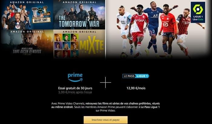 La chaîne Le Pass Ligue 1 est réservée aux clients Amazon Prime et accessible via Prime Video