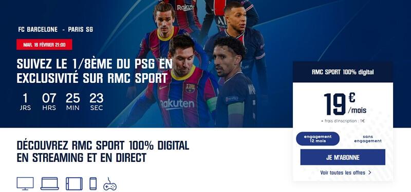 PSG Barcelone sur RMC Sport avec Free