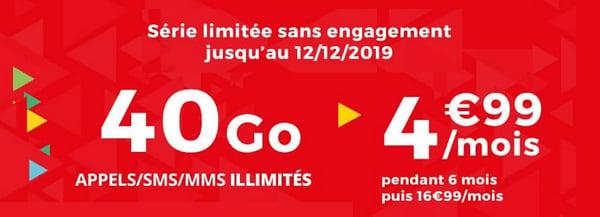 La série limitée Auchan télécom, c'est un forfait avec 40 Go de data pour seulement 4,99€/mois.