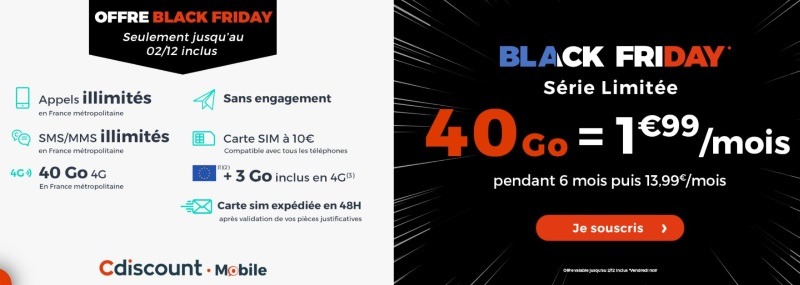 Forfait pas cher Black Friday Cdiscount Mobile
