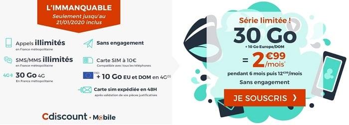 Nouvelle promo Cdiscount Mobile : 30 Go à 2,99€/mois