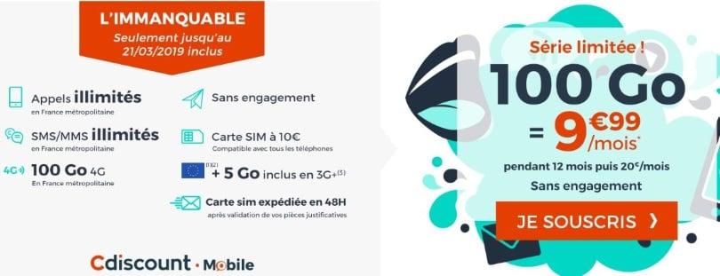 Forfait mobile en promo : Cdiscount Mobile 100 Go